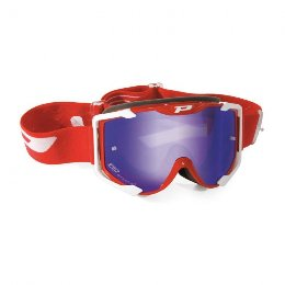 Pro Grip 3404 Menace Multilayered Offroad Goggles Red/White LEens Mirrored Blue